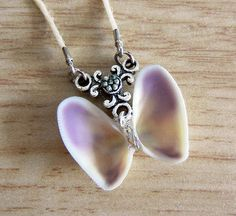 Handmade Natural Coquina Shell Purple & Yellow Butterfly Beach Necklace