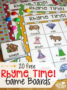 Fun rhyming activity for preschool or early FREE Rhyme Time Game Boards. Fun rhyming activity for preschool or early kindergarten! Kindergarten Centers, Kindergarten Classroom, Kindergarten Reading Activities, Rhyming Words For Kindergarten, Phonemic Awareness Kindergarten, Nursery Rhymes Kindergarten, 1st Grade Centers, Phonological Awareness Activities, Kindergarten Freebies