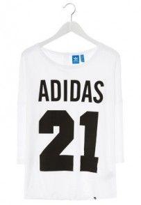 adidas Originals Bluzka z długim rękawem biały Adidas Originals, White Jersey, T Shirts, Must Haves, Long Sleeve Tops, Arm, Sweatshirts, Stuff To Buy, Shopping