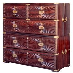 #Sunburst style #Campaign Chest constructed out of #rosewood with #brass hardware.