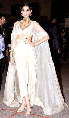 all white 2 crop top and wrap skirt traditional dress Sonam Kapoor at the 60th Filmfare Awards 2014.