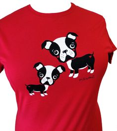 Boston Terrier Shirt  Red DOG TShirt  Choose from by emandsprout, $18.00