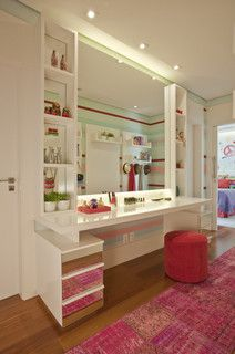 make up, pink, white, bedroom, decor