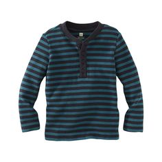 He'll stand out in this boldly striped cold weather favorite. This waffle henley has a fit that's great for layering, but works alone too.