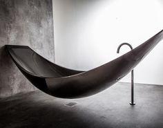 Vessel by Splinter Works || A bath made from carbon fibre that hangslike a hammock by Design studio Splinter. Click image for more