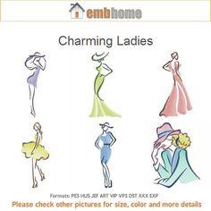 Charming Ladies Machine Embroidery Designs Instant Download 4x4 5x5 6x6 hoop 13 designs APE2159