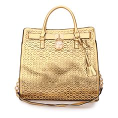 Michael Kors Hamilton Perforated Logo Large Gold Tote