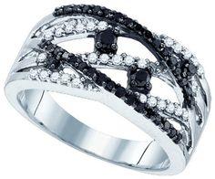 $500 : Ladies 10K White Gold .53ct Black Diamond Wedding Ring Fashion Band