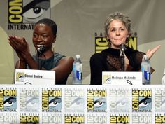 """Actors Danai Gurira and Melissa McBride attend AMC's """"The Walking Dead"""" panel during Comic-Con International 2014 at San Diego Convention Center on July 25, 2014 in San Diego, California."""