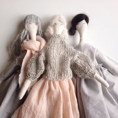 A little collection of hand made dolls, nicely dressed.The dolls are not aimed to be perfect, they are slightly asymmetrical, the hems of their gowns are left unfinished on purpose.Hand made using natural materials./Please note, the price is for each doll