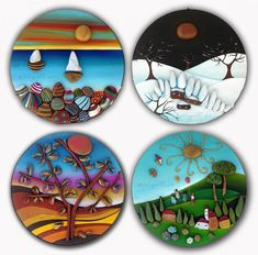 Dot Painting, Stone Painting, Silverpoint, Clay Art Projects, Painted Rocks Craft, Cd Art, Pebble Pictures, Rock And Pebbles, House On The Rock