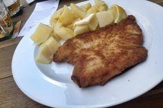 Řízek = Schnitzel. Can be chicken or pork. Served with potatoes and lemon. From Lokál (http://lokal.ambi.cz/en/#restaurace). #CzechFood
