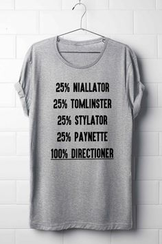 One Direction T-Shirt, Niall Horan, Liam Payne, Harry Styles, Louis Tomlinson, 100% Directioner T-Shirt, Boy Band T-Shirt's                                                                                                                                                      Más