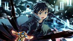 blue eyes, kirigaya kazuto, sky, sword, sword art online, weapon - Animeflow