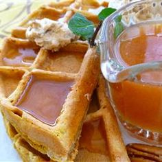 Pumpkin Waffles with Apple Cider Syrup...ohmygod. everything I love about fall in one delicious meal....this was delicious!! :) The recipie was a little large though - made 18 waffles. A little much for our family of three though, ate 6 and froze the rest. Going to try to just heat them up in the toaster like regular waffles when wanted.