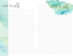 teal watercolor printable note sheets