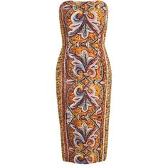 DOLCE & GABBANA Mosaic Printed Crepe Dress (17 045 ZAR) ❤ liked on Polyvore featuring dresses, robe, vestiti, stretchy dresses, brown strapless dress, stretch dress, brown dress and strapless cocktail dress