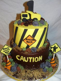 Construction Cake...the caution theme is cute