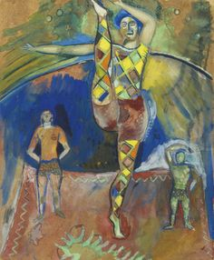 Marc Chagall (Russian-French, 1887-1985), Les trois acrobates, c.1913-14. Gouache and watercolour on paper, 39.4 x 31.8 cm.