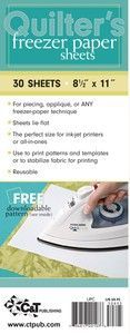 Quilter's Freezer Paper Sheets are handy, printable, and the perfect size for printing patterns or templates in an ink-jet printer or all in one. Sheets lie flat, no ironing n Quilting Tools, Quilting Tutorials, Machine Quilting, Quilting Designs, Sewing Tutorials, Machine Embroidery, Thing 1, Freezer Paper, Applique Quilts