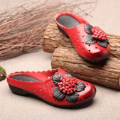 SOCOFY Hollow Out Flower Leaf Breathable Soft Backless Lazy Shoes