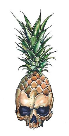 pineapple skull wearing sunglasses art | Fruit ...