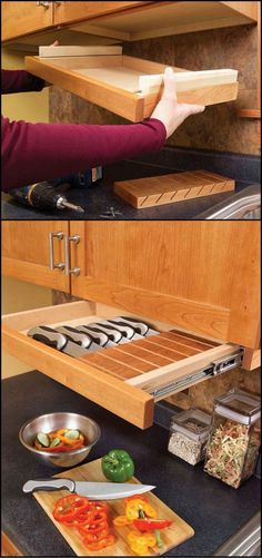 Want to keep your knives away from the bubs? Maybe you just want them organized and closer to hand. http://theownerbuildernetwork.co/7h7b Here are 8 clever ideas for storing your kitchen knives.