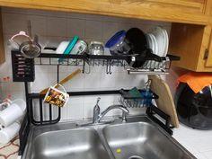 Stainless steel drain rack – KawayMigi Kitchen Rack, Diy Kitchen Storage, Kitchen Organization, Kitchen Room Design, Home Decor Kitchen, Interior Design Kitchen, Stainless Steel Paint, Dorm Room Storage, Apartment Balcony Decorating
