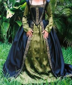 .green and blue renaissance gown