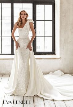 Eva Lendel 2021 Wedding Dresses | Wedding Inspirasi  -- eva lendel 2021 bridal sleeveless one shoulder ribbon straight across neckline light embellishment glamorous elegant fit and flare wedding dress a  line overskirt chapel train (davina) mv  #Ad #Bridal #EvaLendel #Sposa #Wedding #Weddingdress #WeddingDresses #WeddingGown #WeddingGowns  ~ Straight Wedding Dresses, Fit And Flare Wedding Dress, Elegant Wedding Dress, Wedding Dress Styles, One Shoulder Wedding Dress, Long Sleeve Bridal Dresses, Bridal Gowns, Wedding Gowns, Wedding Bells