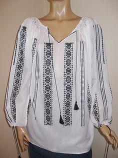 Hand made Romanian peasant blouse size XL / XXL - black pattern