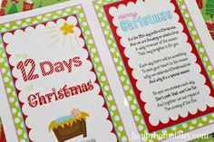 FREE Printable 12 Days of Christmas Poem and Nativity cards (I'm making next Christmas for grandkids)