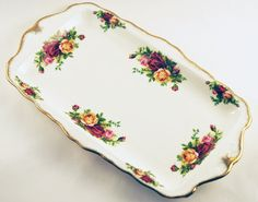 old country roses royal albert   Royal Albert Old Country Roses Fine Bone China Sandwich Tray, Serving ...