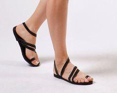 Sandalias, sandalias griegas, sandalias negras, sandalias, de cuero cuir Sandales, las mujeres sandalias de cuero, Serenata