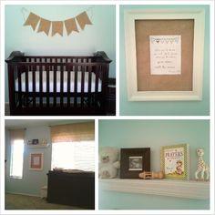 gender neutral blue and burlap nursery