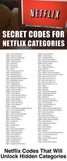 Codes For Netflix Unlock all those hidden Netflix Categories with our Netflix Secret Codes list!Unlock all those hidden Netflix Categories with our Netflix Secret Codes list! Netflix Codes, Netflix Hidden Codes, Simple Life Hacks, Useful Life Hacks, Free Tv And Movies, Netflix Categories, Android Secret Codes, Netflix Hacks, Drama Drama