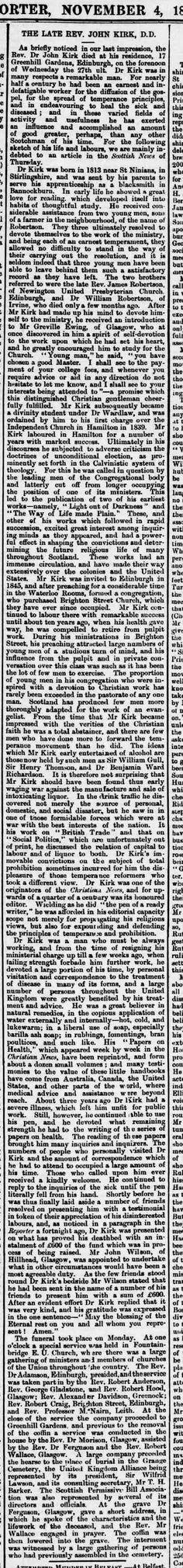 Obituary of John Kirk, Southern Reporter, 4 November 1886