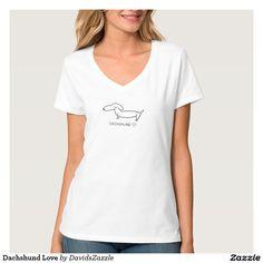 Dachshund Love #cute #cartoon #dachshund #dog #pet #line #drawing #illustration #black #white #fun #love #heart #buy #sale #zazzle #friend #family #clothes #fashion #men #women #kids #girls #boys #toddler #baby #apparel