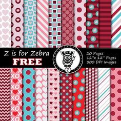 FREE Valentines Day Digital Paper (20 pages) - Commercial use OK! 300 DPI images