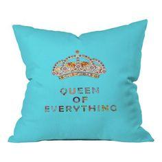 DENY Designs Bianca Green Queen of Everything Indoor/Outdoor Throw Pillow &…