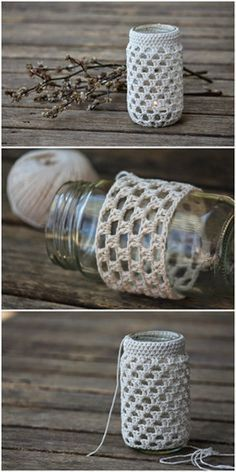 Crochet Jar Cosy Pattern Easy Free Crochet Home Decor Patterns Crochet Gifts, Crochet Yarn, Free Crochet, Chrochet, Crochet Home Decor, Diy Home Decor, Crochet Motifs, Crochet Patterns, Crochet Stitches