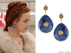 "In the episode (""Clans"") Queen Elizabeth wears these sold out Stephen Dweck Dumortierite & Bronze Earrings. Worn with a LaKrause crown. Reign Show, Reign Hairstyles, Reign Mary, Reign Dresses, Reign Fashion, Tv Show Outfits, Fandom Jewelry, Stephen Dweck, Jewelry Photography"