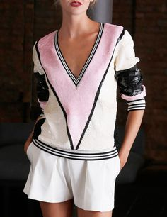 Boyish Color-block: sequin embellished sportive #sweater + short trousers. Naeem KhanResort 2015 #fashion #details