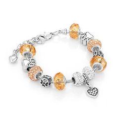 Gorgeous Golden Pandora Inspired Charm Crystal Bracelet