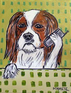 cavalier king charles spaniel phone dog art print 8x10