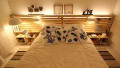 Best Wooden Pallet Bed Frame design With Lights - Pallet Furniture Plans, Pallet Furniture Designs, Diy Outdoor Furniture, Pallet Designs, Wooden Pallet Beds, Wooden Pallet Projects, Pallet Ideas, Bed Frame Design, How To Make Bed