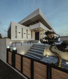 Window Grill Design Modern, Modern Exterior House Designs, Modern House Design, Exterior Design, Modern Japanese Architecture, Architecture Design, Style At Home, Japanese Modern House, 3 Storey House Design
