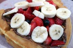 A fruit and Nutella waffle is perfect for breakfast