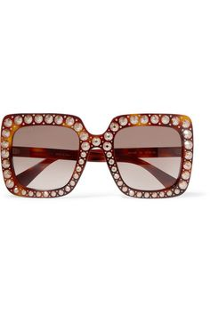 b078431d63 Gucci Embellished Square Frame Tortoiseshell Acetate Sunglasses Celebrity  Sunglasses
