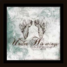 Under His Wings Psalm Angel Damask Scroll Texture Religious Painting Blue & White, Framed Canvas Art by Pied Piper Creative, Brown